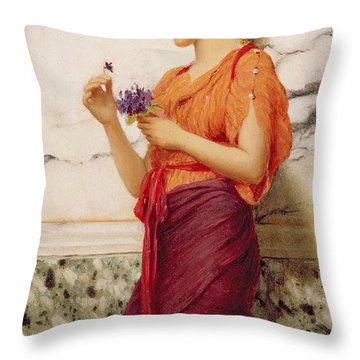 Violets Throw Pillow by John William Godward