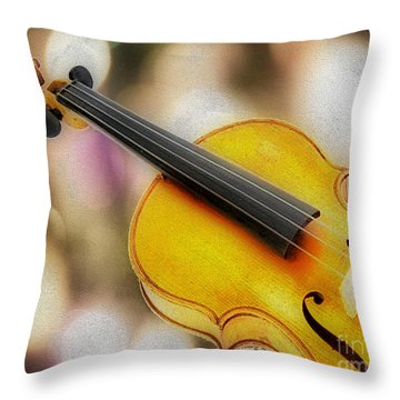 Violin Throw Pillow by Cheryl Young