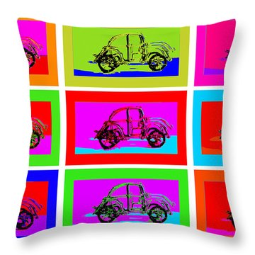 Vw Beatle 1b Throw Pillow by Mauro Celotti