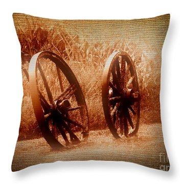 Wagon Wheels Throw Pillow by Ms Judi