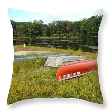 Waiting For One Last Summer Voyage Throw Pillow by Mother Nature