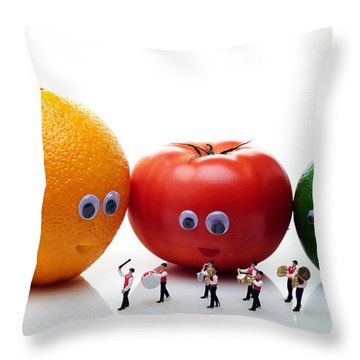 Watching Festival Parade Throw Pillow by Paul Ge
