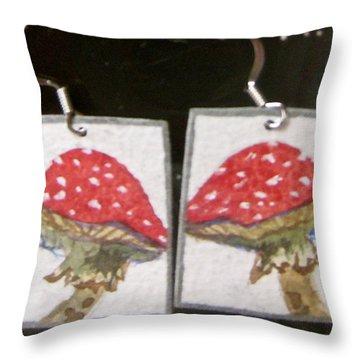 Watercolor Earrings Amanita Throw Pillow by Beverley Harper Tinsley