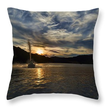 Wave Runner On Lake Evening Throw Pillow by Dan Friend
