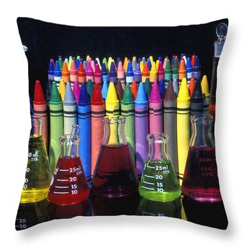 Wax Crayons And Measuring Flasks Throw Pillow by David Chapman