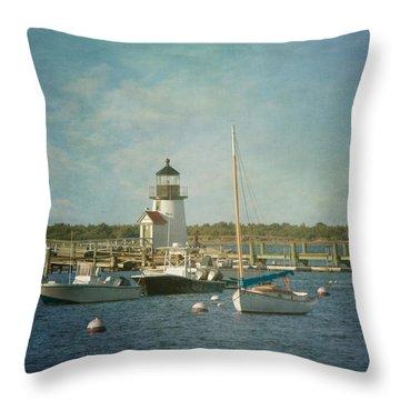 Welcome To Nantucket Throw Pillow by Kim Hojnacki