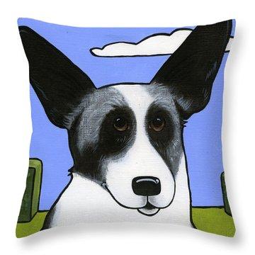 Welsh Cardigan Corgi Throw Pillow by Leanne Wilkes
