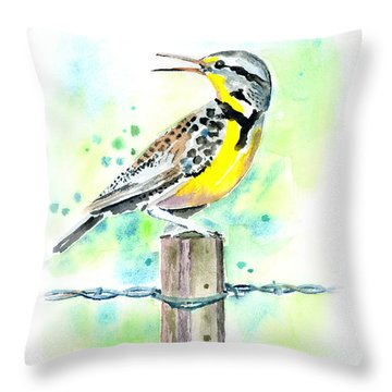 Western Meadowlark Throw Pillow by Arline Wagner