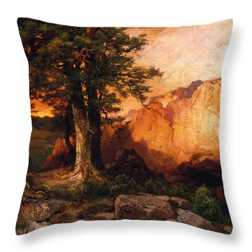 Western Sunset Throw Pillow by Thomas Moran