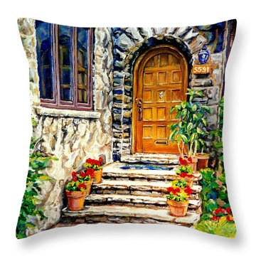 Westmount Montreal Street Scene Throw Pillow by Carole Spandau