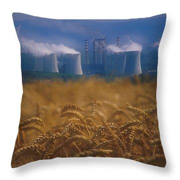 Wheat Fields And Coal Burning Power Throw Pillow by David Nunuk