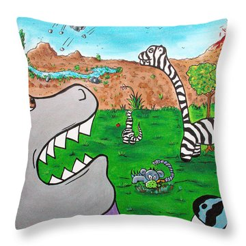 When Zebrasaurs Walked The Earth Throw Pillow by Jera Sky