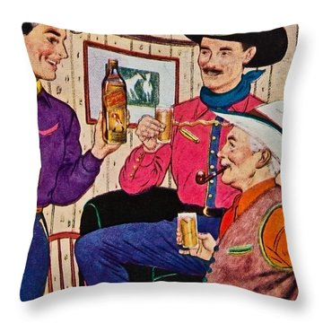 Whiskey Advertisement Throw Pillow by Susan Leggett