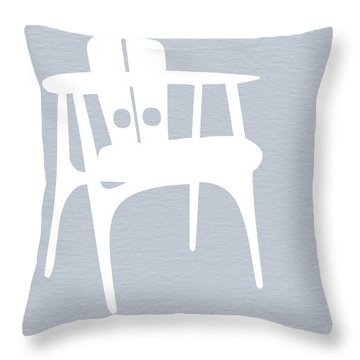 White Chair Throw Pillow by Naxart Studio