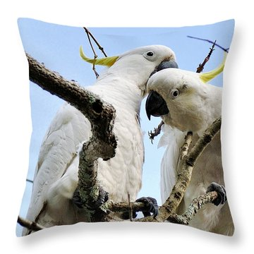 White Cockatoos Throw Pillow by Kaye Menner