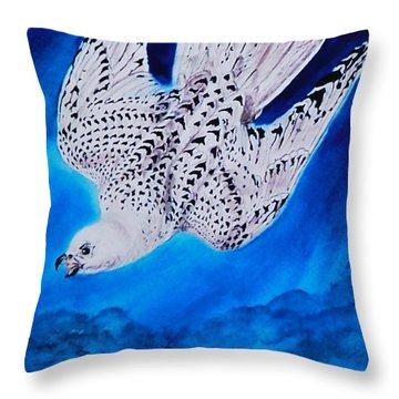 White Falcon Mascot Throw Pillow by Phyllis Barrett