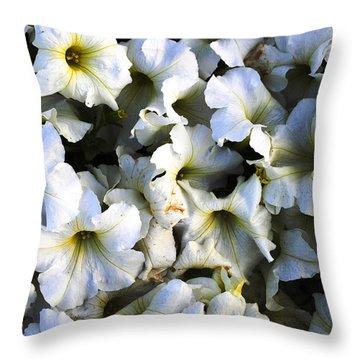 White Flowers At Dusk Throw Pillow by Sumit Mehndiratta