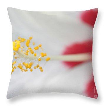 White Hibiscus Macro Throw Pillow by Sabrina L Ryan
