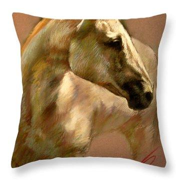White Horse Throw Pillow by Ylli Haruni