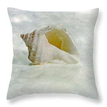 White Seashell Throw Pillow by Cindi Ressler