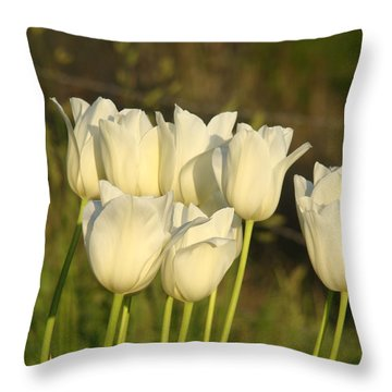 White Tulip Flowers Art Prints Spring Green Garden Throw Pillow by Baslee Troutman