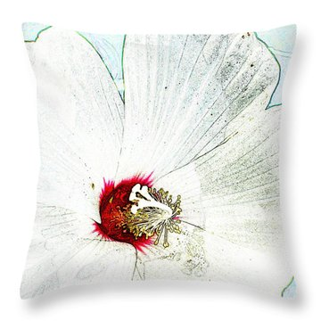 White Wildflower V Throw Pillow by Debbie Portwood