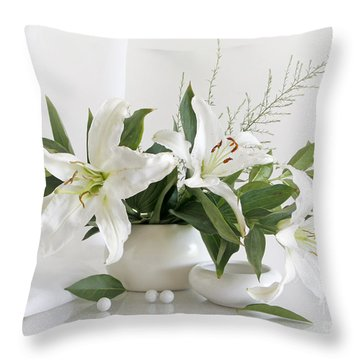 Whites Lilies Throw Pillow by Matild Balogh