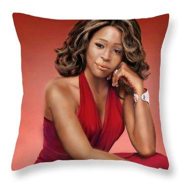 Whitney Houston Throw Pillow by Reggie Duffie
