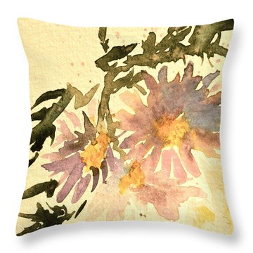 Wild Asters Aged Look Throw Pillow by Beverley Harper Tinsley