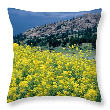 Wild Mustard Throw Pillow by James Steinberg and Photo Researchers