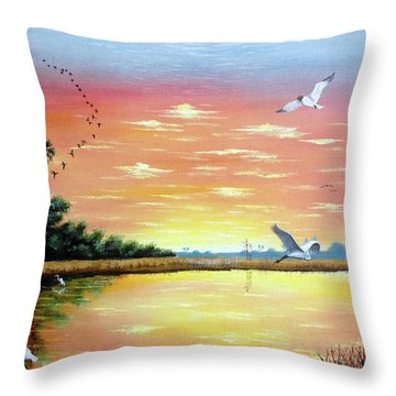 Wilderness Gathering Throw Pillow by Riley Geddings