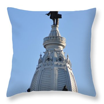 William Penn - On Top Of City Hall Throw Pillow by Bill Cannon
