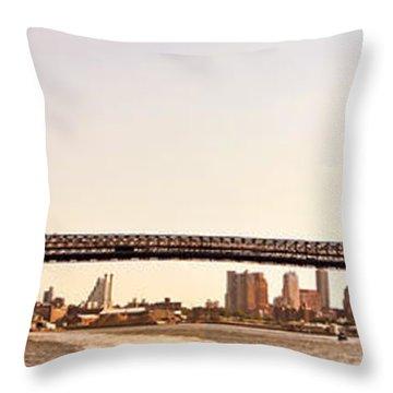 Williamsburg Bridge And The New York City Skyline Panorama Throw Pillow by Vivienne Gucwa