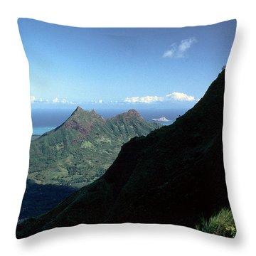 Windward Oahu From The Koolau Mountains Throw Pillow by Thomas R Fletcher