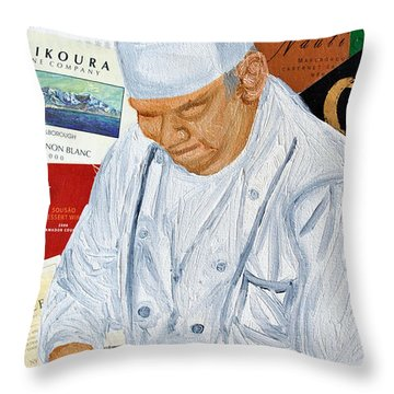 Wine Label Chef Throw Pillow by Michael Lee