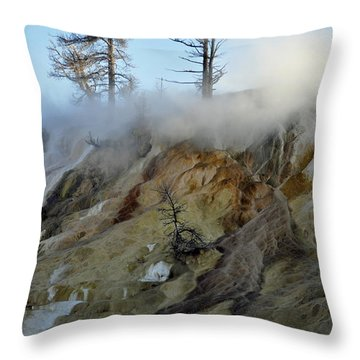 Winter At Yellowstone's Mammoth Terrace Throw Pillow by Bruce Gourley