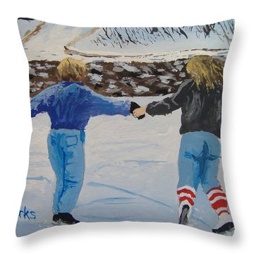 Winter Fun Throw Pillow by Norm Starks