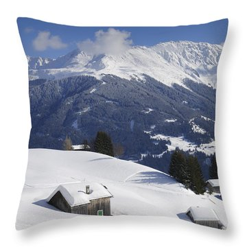 Winter Landscape In The Mountains Throw Pillow by Matthias Hauser