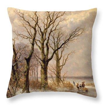 Winter Landscape With Faggot Gatherers Conversing On A Frozen Lake Throw Pillow by Josephus Gerardus Hans