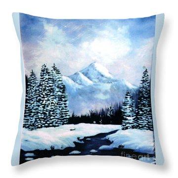Winter Mountains Throw Pillow by Phyllis Kaltenbach