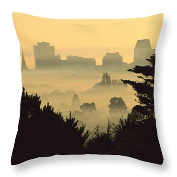 Winter Smog Over The City Throw Pillow by Colin Monteath