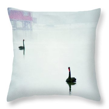 Winter Swans Throw Pillow by Darren Fisher