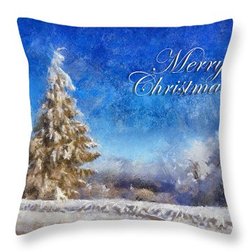 Wintry Christmas Tree Greeting Card Throw Pillow by Lois Bryan
