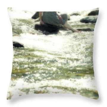 Woman Admist A Torrent Throw Pillow by Joana Kruse