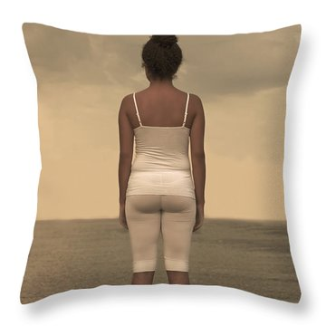 Woman On The Beach Throw Pillow by Joana Kruse