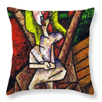 Woman On Wooden Chair Throw Pillow by Kamil Swiatek