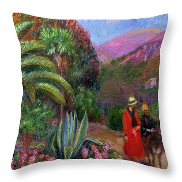 Woman With Child On A Donkey Throw Pillow by William James Glackens