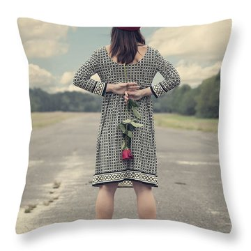 Woman With Red Rose Throw Pillow by Joana Kruse
