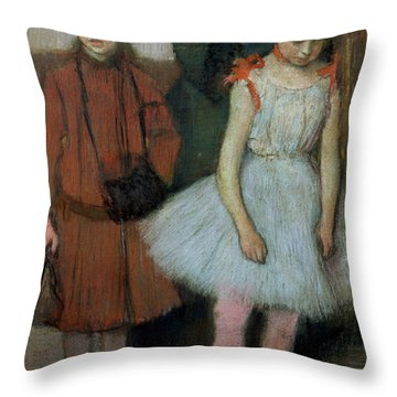 Woman With Two Little Girls Throw Pillow by Edgar Degas