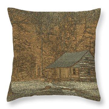 Woodcut Cabin Throw Pillow by Jim Finch